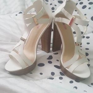 White chunky heel sandals